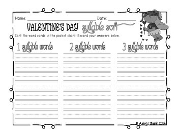 Valentine's Day Syllable Sort - 1, 2, & 3 Syllable Words