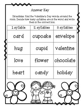 Valentine's Day Syllable Sort Write the Room