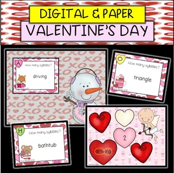 Valentine's Day Syllables Task Cards