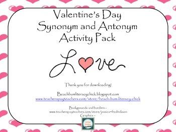 Valentine's Day Synonym and Antonym Activity Pack
