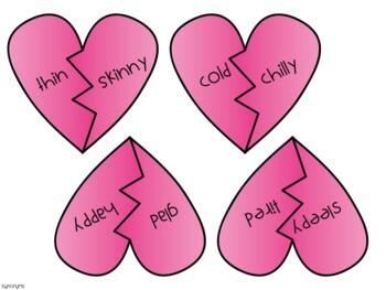 Valentine's Day Synonym and Antonym Matching Activity