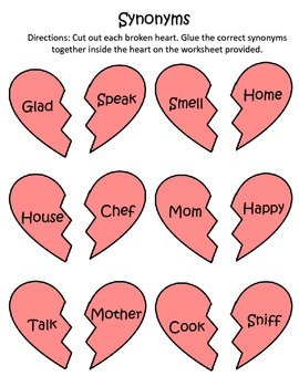Valentine's Day Synonyms and Antonyms Activity