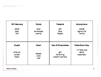 Valentine's Day Taboo Game