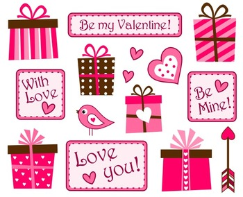 Valentine's Day Tags And Giftboxes Clip Art