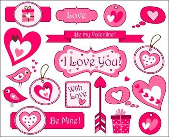 Valentine's Day Tags Clip Art