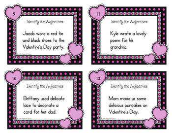 Valentine's Day Task Cards-Adjectives