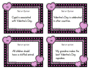 Valentine's Day Task Cards-Fact or Opinion