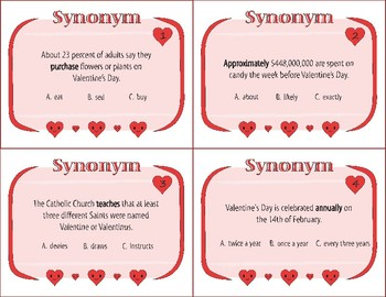 Valentines Day Task Cards - Synonyms, Antonyms, and Homonyms