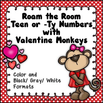 Number Sense Activity Teen and/ or -Ty Numbers Valentine Monkeys