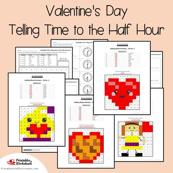 Valentines Day Telling Time To the Half Hour Coloring Sheets, Mystery Pictures