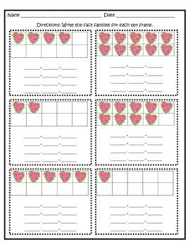 Valentine's Day Ten Frame Fact Families FREEBIE OF THE WEEK