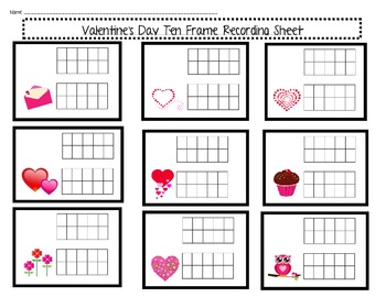 Valentine's Day Ten Frame Games