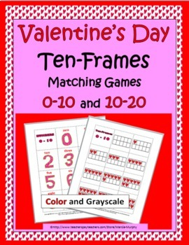 Ten Frames Matching Games (Numbers 1-10 & Numbers 11-20) - Valentine's Day Math