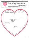 Valentine's Day - The Many Pieces of My Heart Writing Templates and Craftivity