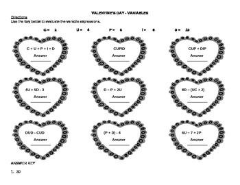 Valentine's Day Theme Algebraic Practice - Variables