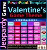Valentine's Day Theme Interactive Jeopardy template with timer & scoreboard