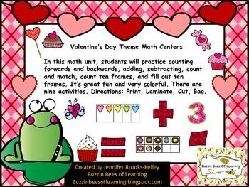 Valentine's Day Theme Math Centers