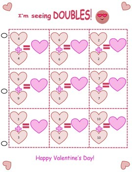 Valentines Day Theme Math Facts sheets