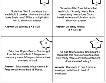Valentine's Day Themed 3rd Grade enVision Math Questions 30 task cards