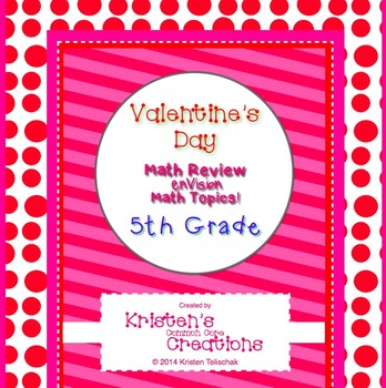 Valentine's Day Themed 5th Grade Math Questions 30 Word Pr