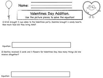 Valentines Day Themed Addition Story Problems with pictures