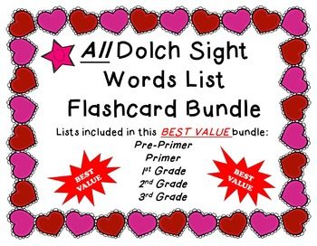 Valentine's Day Themed All Dolch Sight Word ***Value Bundle***