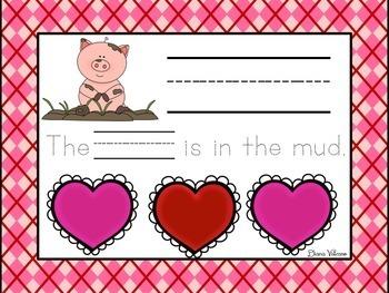 Valentine's Day Themed CVC Word Work Mats