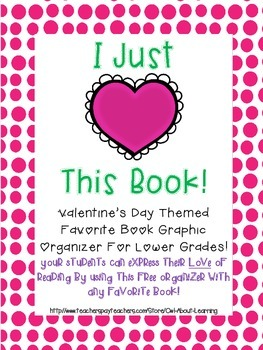 Valentine's Day Themed Favorite Book Reading Graphic Organizer for Lower Grades
