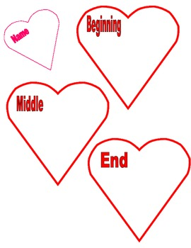 Valentine's Day Themed Graphic Organizer (Beginning, Middle, End)