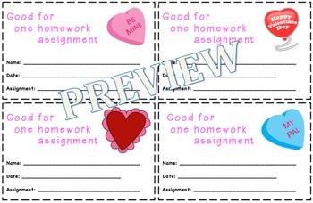 Valentine's Day Themed Homework Passes