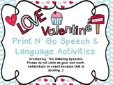 Valentine's Day Themed Print N' Go Speech & Language Activities