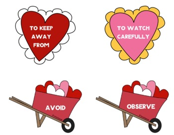 Valentine's Day Themed - Word Definitions - Match the Heart to the Wheelbarrow
