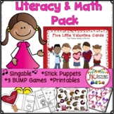 Valentine's Day Song with Literacy and Math Activities: 5 Little Valentine Cards