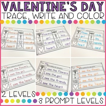 Differentiated Valentines Day Trace, Write, Color FREEBIE!