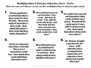 Valentine's Day Train Multiplication and Division Word Problem Sort