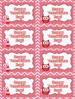 Valentine's Day Treat Labels (Owl Theme)