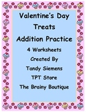 Valentine's Day Treats Addition Practice Math Worksheets