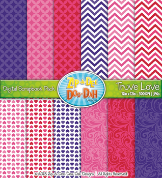 Valentine's Day True Love Digital Scrapbook Pack (14 Pages)