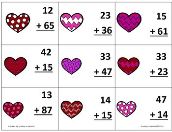 {$1 Deal} Valentine's Day Two Digit Addition Top-It