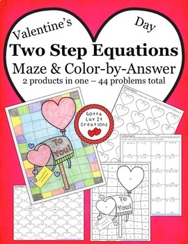 Valentine's Day Math Two Step Equations Maze & Color by Number Activity Set