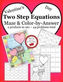 Valentine's Day Math Two Step Equations Maze & Color by Nu