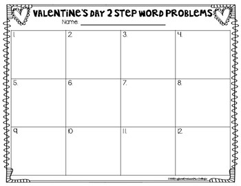 2 Step Word Problems- Valentine's (3.OA.D.8)