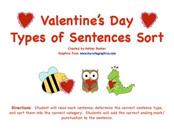 Valentine's Day Types of Sentences Sort