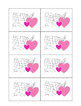 Valentine's Day US States and Capitals Matching Game. History Center. Geography