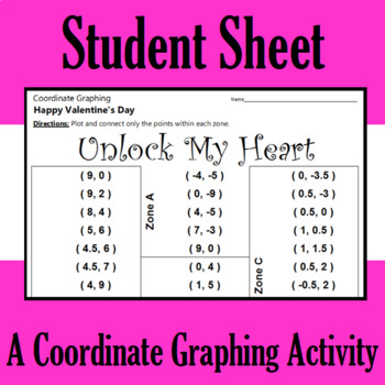 Valentine's Day - Unlock My Heart - A Coordinate Graphing Activity