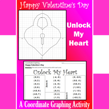 Valentine's Day - Unlock My Heart - A Coordinate Graphing