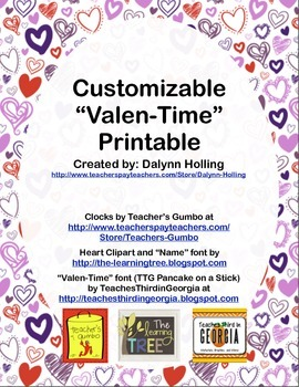 """Valentine's Day """"Valen-Time"""" Telling Time Printable"""