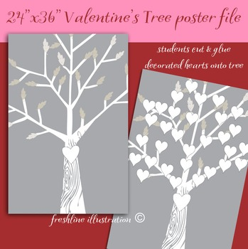 Valentines Day, Valentine's Day Bulletin Board Idea, Heart Tree,  Printable