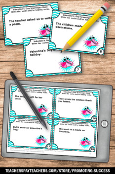 1st 2nd Grade Valentines Day ELA Activities, VERBS Task Cards, Literacy Centers