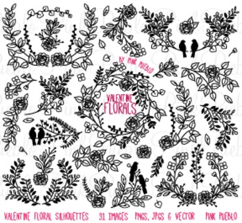 Valentine's Day Vintage Flower Silhouettes Clipart Clip Art - Commercial Use